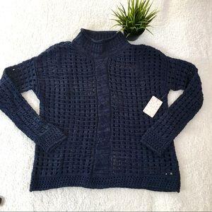 Free People Navy Blue cotton Lattice Crochet Knit